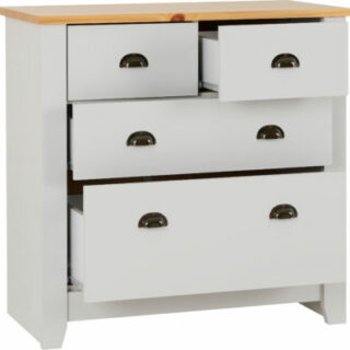 Ludlow 2+2 Drawer Chest - Grey/Oak Lacquer