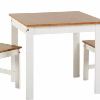 REDUCED Ludlow 1+2 Dining Set - White/Oak Lacquer SHOWROOM MODEL (ALREADY ASSEMBLED)