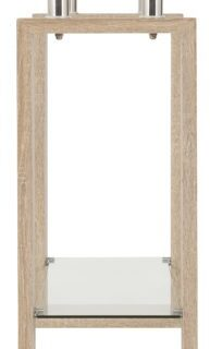 Milan Console Table - Sonoma Oak Effect Veneer/Clear Glass/Silver