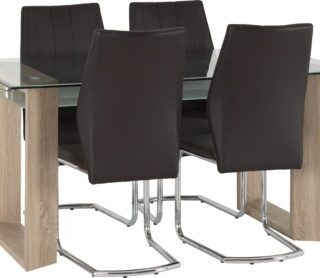 Milan 1+4 Dining Set - Clear Glass/Frosted Glass/Sonoma Oak Effect Veneer/Brown Faux Leather/Chrome