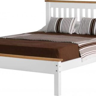 Monaco 4'6 Bed Low Foot End - White/Distressed Waxed Pine