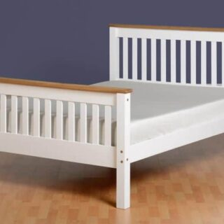 Monaco 4'6 Bed High Foot End - White/Distressed Waxed Pine