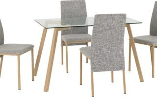 Morton Dining Set - Clear Glass/Oak Effect Veneer/Grey Fabric