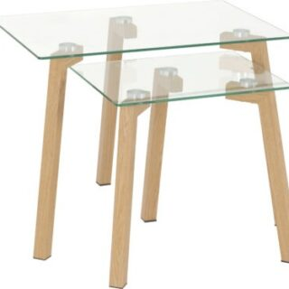 Morton Nest of Tables - Clear Glass/Oak Effect Veneer