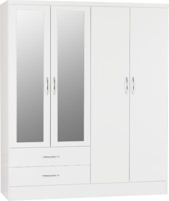 Nevada 4 Door 2 Drawer Mirrored Wardrobe - White Gloss