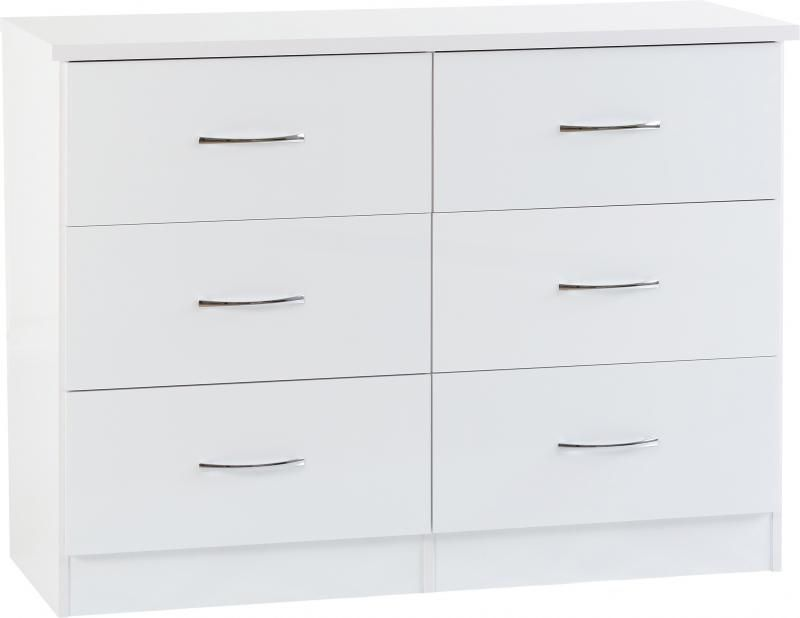 Nevada 6 Drawer Chest - White Gloss