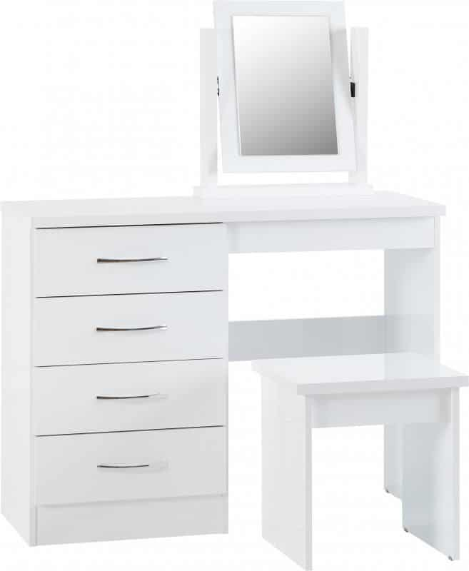 Nevada 4 Drawer Dressing Table Set - White Gloss