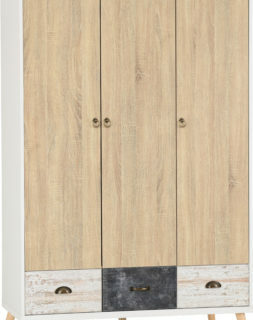 Nordic 3 Door 3 Drawer Wardrobe - White/Distressed Effect