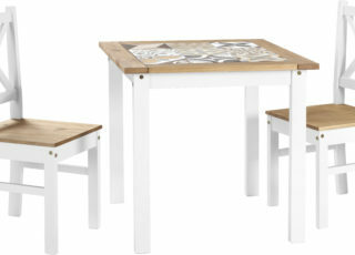 Salvador 1+2 Tile Top Dining Set - White/Distressed Waxed Pine