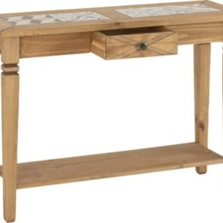 Salvador Tile Top Console Table - Distressed Waxed Pine