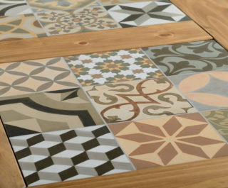 Salvador Tile Top Dining Table - Distressed Waxed Pine