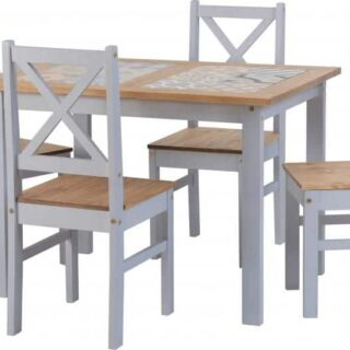 Salvador 1+4 Tile Top Dining Set - Slate Grey/Distressed Waxed Pine
