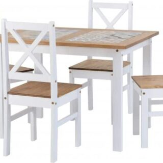Salvador 1+4 Tile Top Dining Set - White/Distressed Waxed Pine
