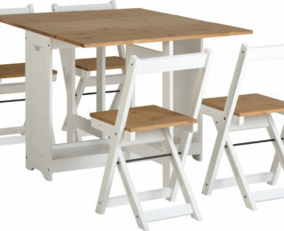 Santos Butterfly Dining Set - White/Distressed Waxed Pine