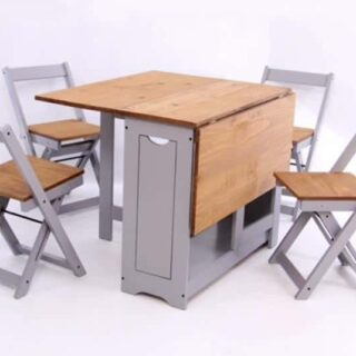Santos Butterfly Dining Set - Slate Grey/Distressed Waxed Pine
