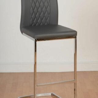 Sienna Bar Chair - Grey Faux Leather/Chrome