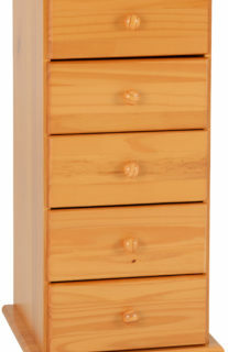 Sol 5 Drawer Narrow Chest - Antique Pine