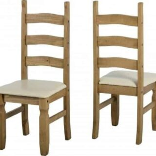 Corona Chair (PAIR) - Distressed Waxed Pine/Cream Faux Leather