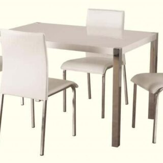Charisma 4' Dining Set - White Gloss/Chrome/White Faux Leather