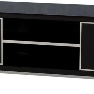Charisma 2 Door TV Unit - Black Gloss/Chrome