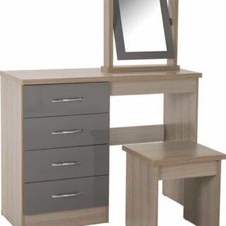 Nevada 4 Drawer Dressing Table Set - Grey Gloss
