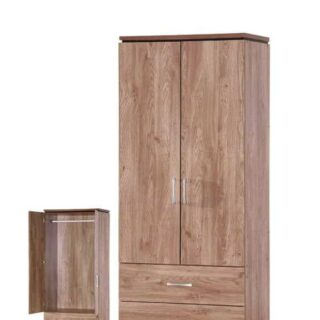 Charlton 2 Door, 2 Drawer Wardrobe-Oak