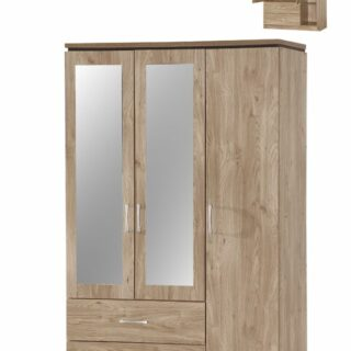 Charlton 3 Door, 2 Drawer Mirrored Robe-OakWardrobe-in-Oak