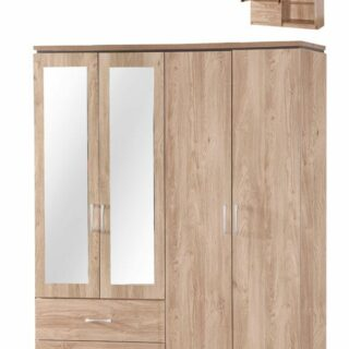 Charlton 4 Door 2 Drawer Mirrored Wardrobe Oak
