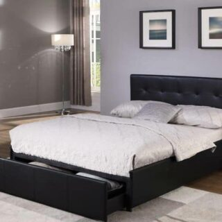 Maple-4.6-Bed-with-Drawer-in-Black