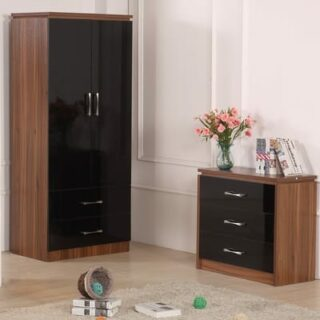 CONRAD BEDROOM SET (ROBE, 3DWR, 2DWR) - BLACK/WALNUT