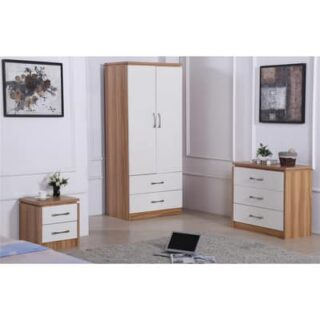 CONRAD BEDROOM SET (ROBE, 3DWR, 2DWR) - WHITE/OAK