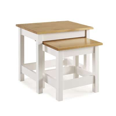 WHITNEY NEST OF 2 TABLES WITH STRETCHERS - WHITE