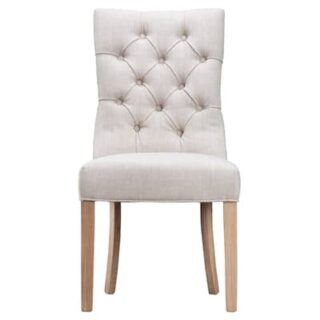 Belgium CHAIR DESIGN 03- BEIGE FABRIC- (X2)