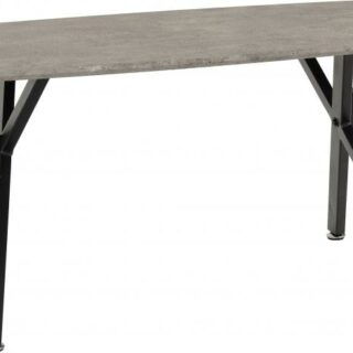 Athens Oval Coffee Table in Concrete Effect/Black