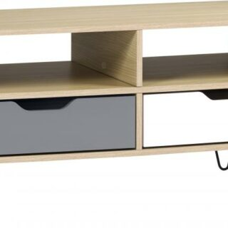 Bergen 2 Drawer Coffee Table in Oak Effect/White/Grey