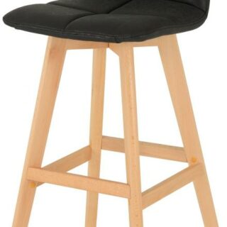 Darwin Bar Chair (PAIR) in Black Faux Leather