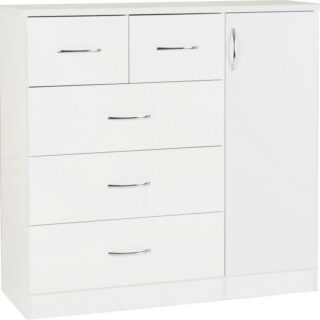 NEVADA_5_DRAWER_LOW_WARDROBE_WHITE_GLOSS_100