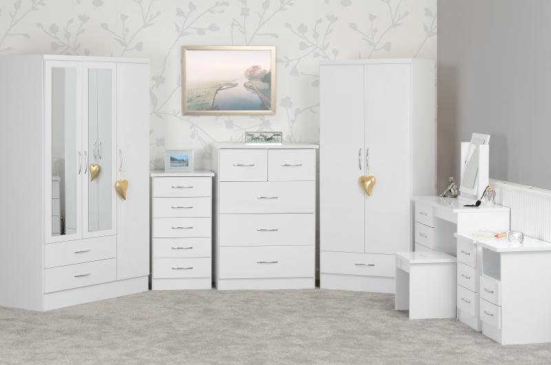 Nevada 5 Drawer Low Wardrobe In White Gloss Low Cost Furniture Direct