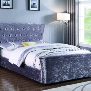 Winged Bed 5' - Silver Crushed Velvet