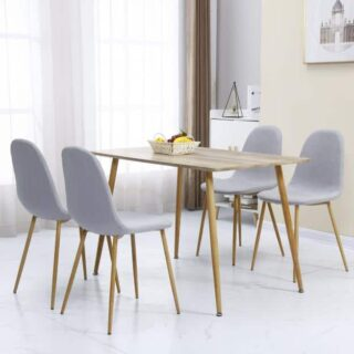 Barley Dining Set in Oak Veneer/Grey Fabric/Oak Effect