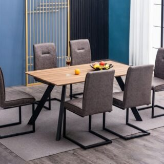 Camden Table + 6 - Grey Chairs