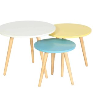Hove Nest of Tables - Coloured / Oak
