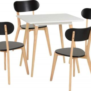 Julian Dining Set in White/Natural/Black