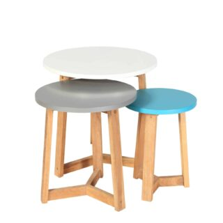 Jasper Nest of Tables- Coloured / Oak