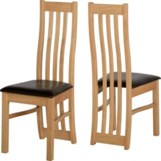 Ainsley Chairs in Oak Veneer/Brown Faux Leather (Pair)
