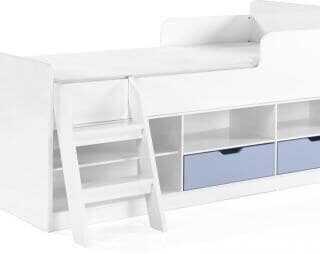 Jasper Low Sleeper Bed in White/Blue Gloss