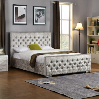 Galaxy 5' Crushed Velvet Bed in Silver