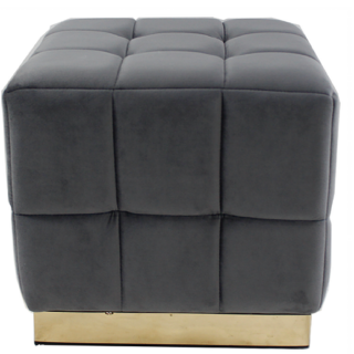 Grey Square Footstool
